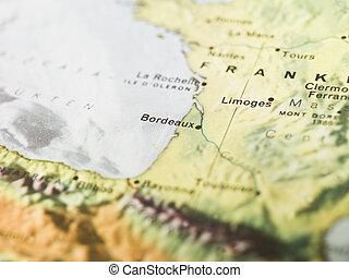 mapa, burdeos
