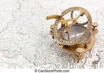 mapa, busola, morski, stary, zegar słoneczny