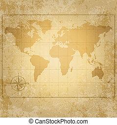 mapa, busola, wektor, świat, rocznik wina