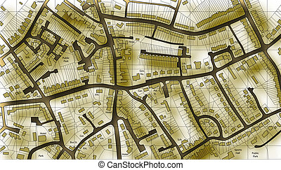 mapa, bydlení, dávný