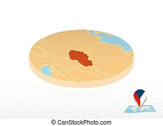 mapa, círculo, estilo, isometric, tcheco, projetado, república, laranja, map.