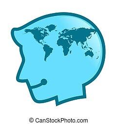 mapa, cabeça, silueta, símbolo, human, mundo