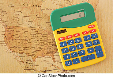 mapa, calculadora, américa
