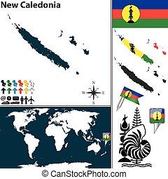 mapa, caledonia, nuevo