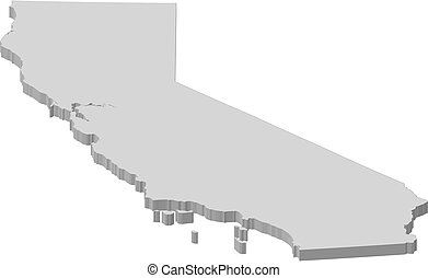 mapa, -, california, (united, states), -, 3d-illustration