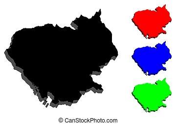 mapa, cambodia, 3d