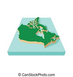 mapa canadá, ícone, estilo, caricatura
