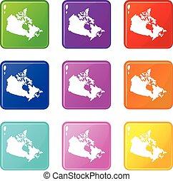 mapa canadá, 9, jogo, ícones