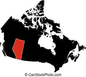 mapa, -, canadá, alberta