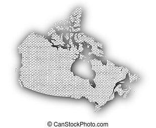 mapa canadá, antigas, linho