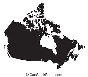 mapa canadá, blanco, negro