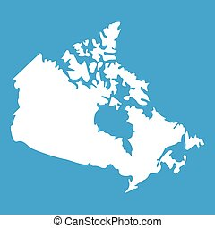 mapa canadá, branca, ícone