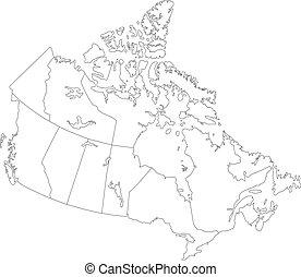 mapa canadá, contorno