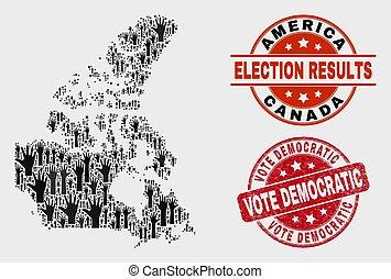 mapa canadá, grunge, selo, v2, voto, democrático, voto, composição