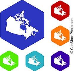 mapa canadá, hexágono, jogo, ícones