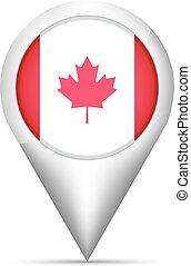 mapa canadá, ilustração, bandeira, vetorial, ponteiro, shadow.