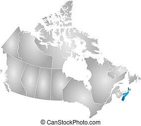 mapa, -, canadá, nueva escocia