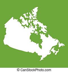 mapa canadá, verde, ícone