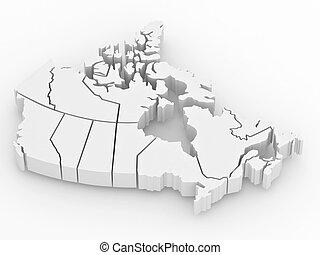 mapa, canada., trójwymiarowy, 3d