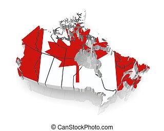 mapa, canada., trójwymiarowy
