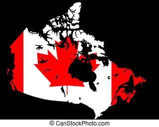 mapa canadiense, y, bandera, ilustración