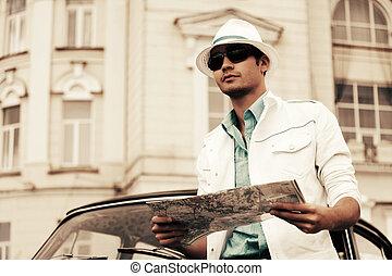 mapa, car, jovem, retro, estrada, homem