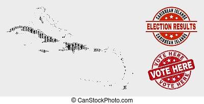 mapa, caraíbas, colagem, eleitoral, aqui, selo, ilhas, voto, grunge