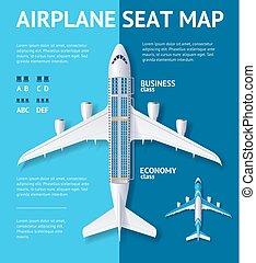 mapa, card., asiento, vector, avión, clase