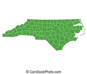 mapa, carolina del norte