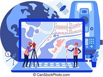 mapa, cartographers, usando, engenheiros, produto, cadastral, conceito, levantamento, área, laptop., agrimensores, theodolite, geodetic