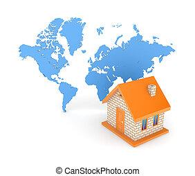 mapa, casa, contra, pequeño, world., 3d