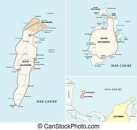 mapa, catalina, san andres, providencia, santa, camino
