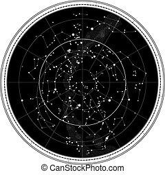 mapa celeste, de, el, cielo de la noche