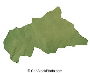 mapa, central, papel, verde, africano, antigas, república