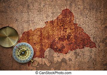 mapa, central, vindima, africano, papel, república, fenda, antigas