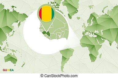 mapa, centric, guiné, map., ampliado, mundo, américa