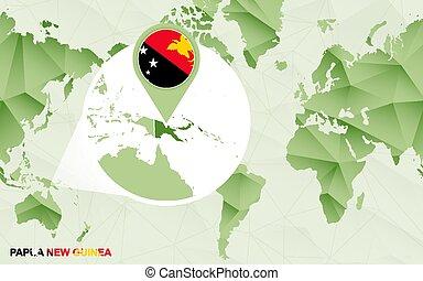 mapa, centric, guiné, map., ampliado, papua, mundo, novo, américa