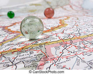 mapa, cesta