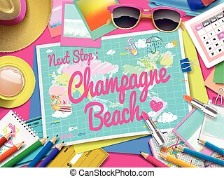 mapa, champaña, playa