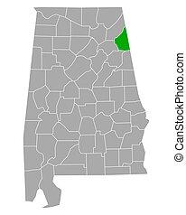 mapa, cherokee, alabama