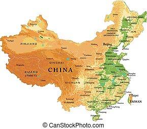 mapa, china, alívio