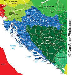 mapa, chorvatsko