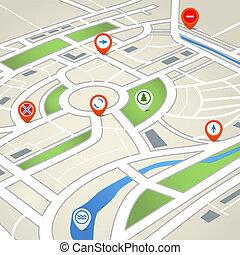 mapa, cidade, abstratos