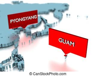 mapa, cidade, adesivo, -, pyongyang, mundo, guam, 3d