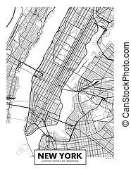 mapa cidade, cartaz, vetorial, york, novo