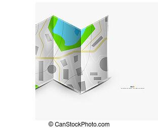 mapa cidade, página, com, copyspace