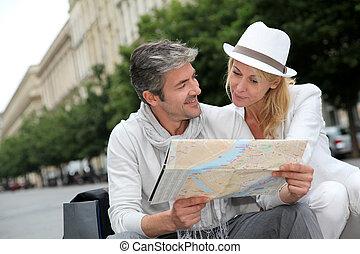 mapa cidade, par, olhar, meio envelheceu