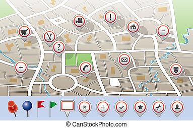 mapa cidade, vetorial, gps, ícones