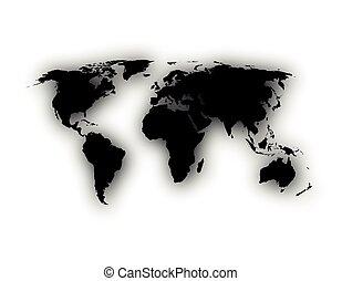 mapa, cień, świat