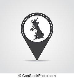 mapa, cinzento, ilustração, experiência., vetorial, reino unido, ponteiro